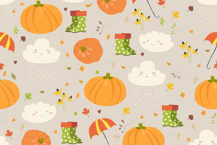 Thumbnail for Vector seamless pattern with pumpkins and autumn