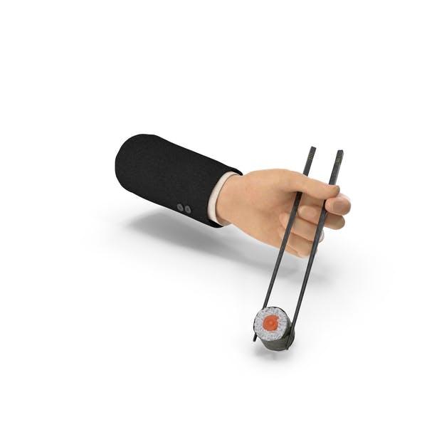 Traje de mano de la celebración de palillos con sushi