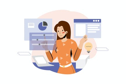 Businesswoman working out business plan