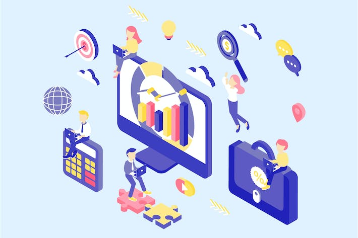 Thumbnail for Digital Marketing Isometric Illustration