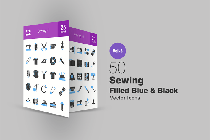 Thumbnail for 50 Sewing Blue & Black Icons