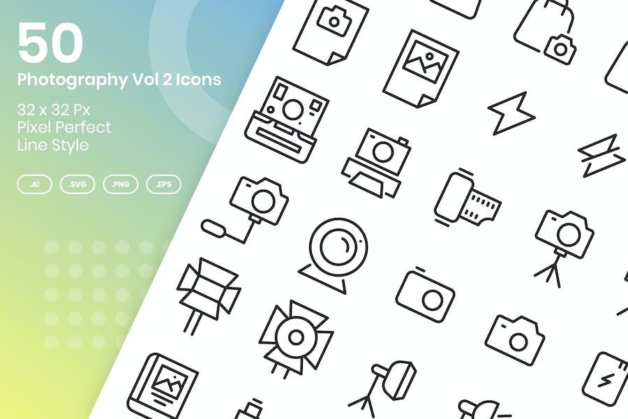 50 Photography Vol 2 Icons Set - Line