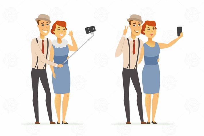 Thumbnail for A couple making selfie - vector illustration