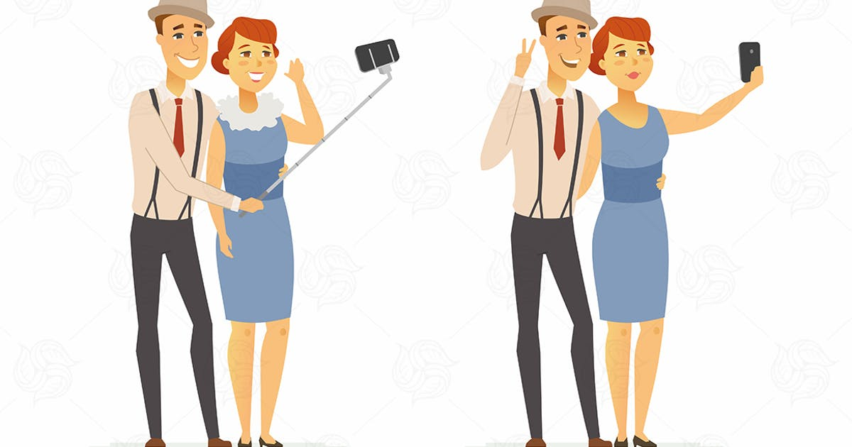 Download A couple making selfie - vector illustration by BoykoPictures