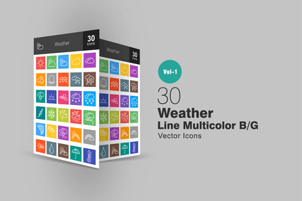 30 Weather Line Multicolor Icons