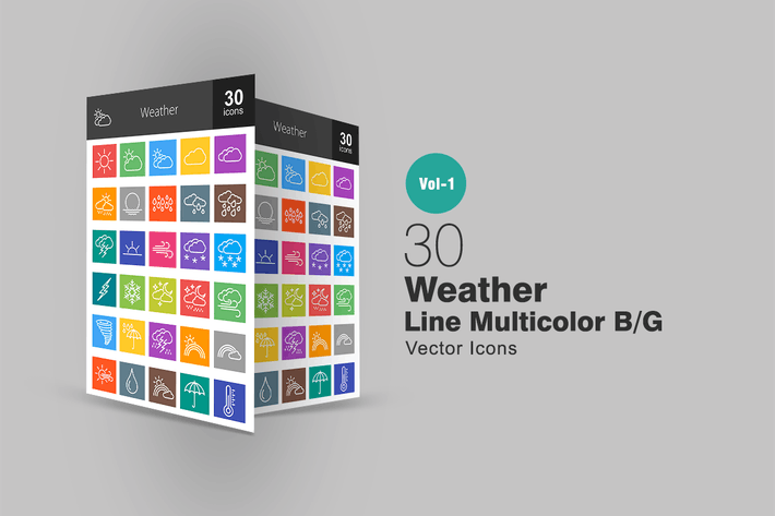 Thumbnail for 30 Weather Line Multicolor Icons