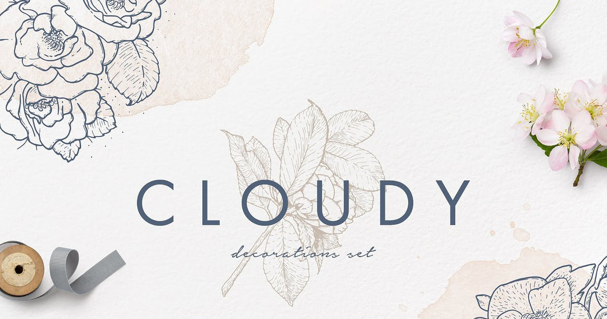 Download Cloudy Watercolor Decorations Set by Oxana-Milka