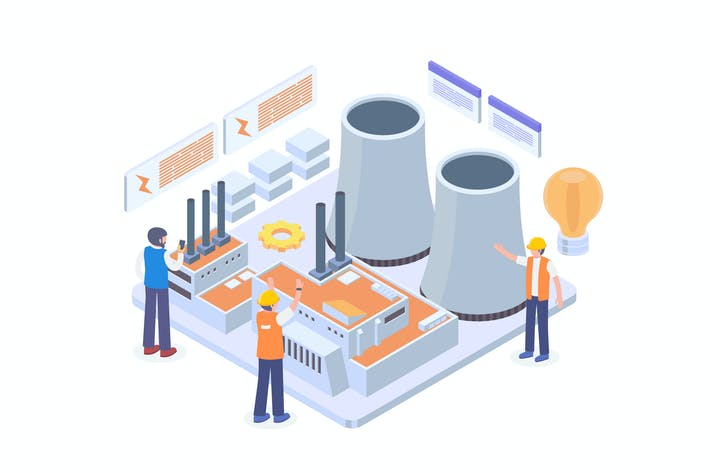 Thumbnail for Power Plant Isometric Vector