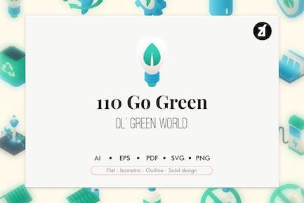 110 Go grüne Elemente Icon Pack