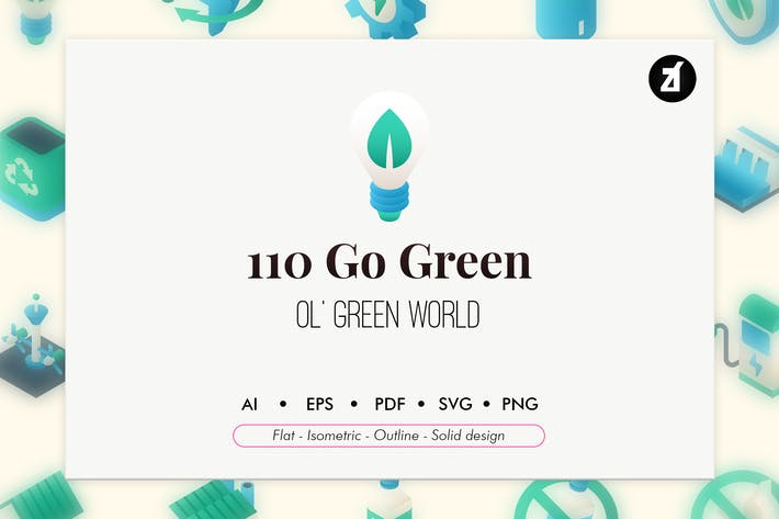 Thumbnail for 110 Go green elements icon pack