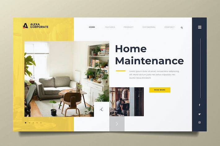Thumbnail for Home Interior Web Header PSD and AI Template