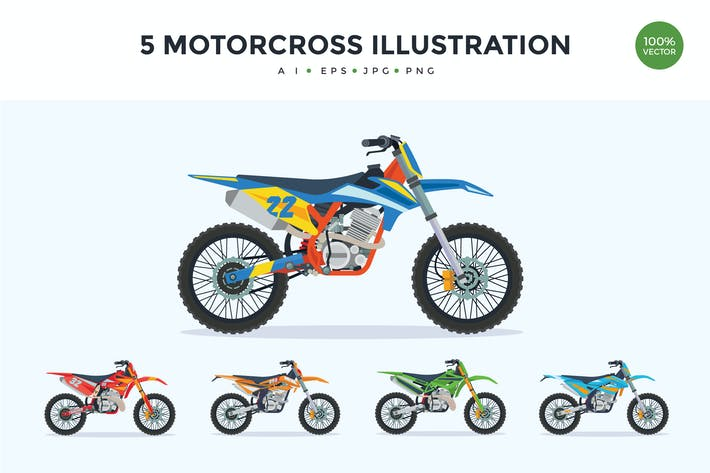 Thumbnail for 5 Extreme Motorcross Bike Vector Illustration Set