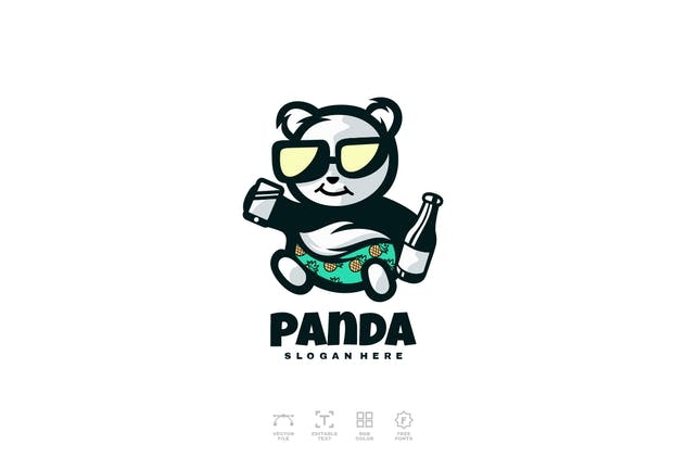 Panda Summer Logo Design Template