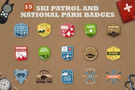 Mountain Ski Patrol Logo & Camping Badges
