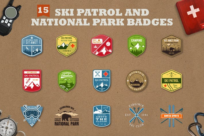 Thumbnail for Mountain Ski Patrol Logo & Camping Badges