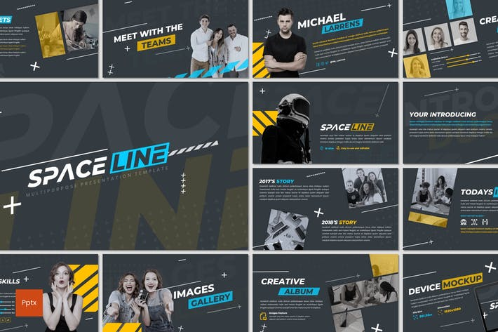 Thumbnail for Space Line - Powerpoint Template