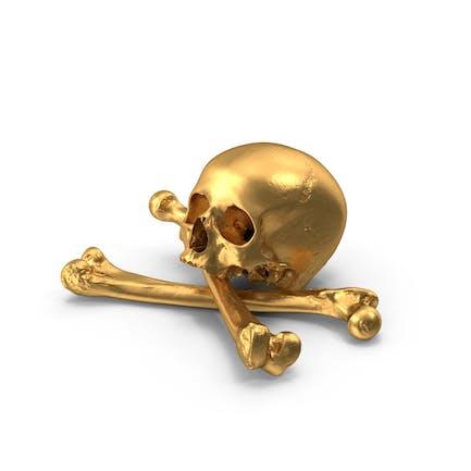 Pirat Totenkopf und Knochen Zusammensetzung Gold