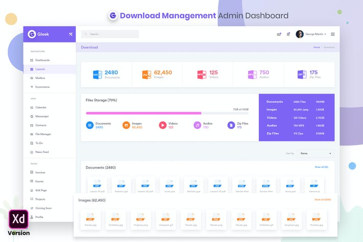 Thumbnail for Downloads Management Admin Dashbaord UI Kit (XD)
