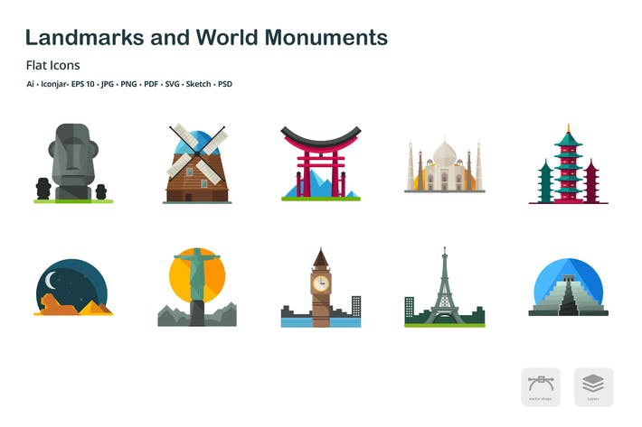Thumbnail for Landmarks and World Monuments Flat Colored Icons