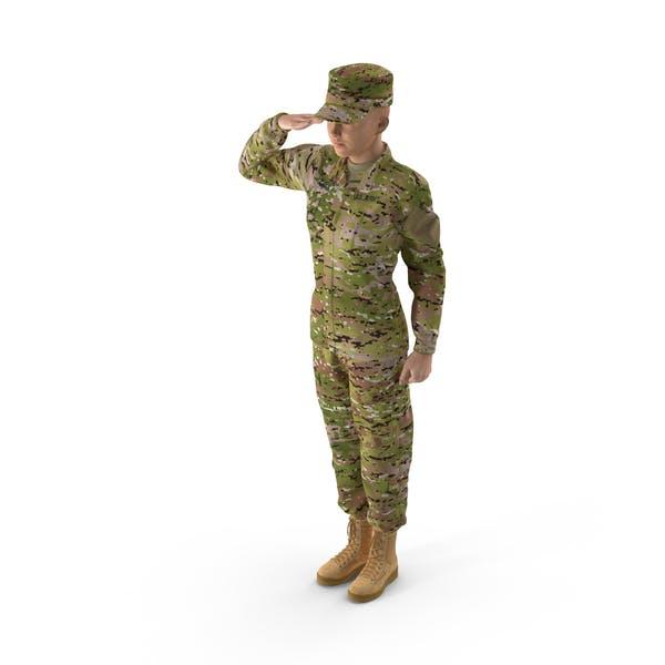 Женский солдат камуфляж приветливая поза