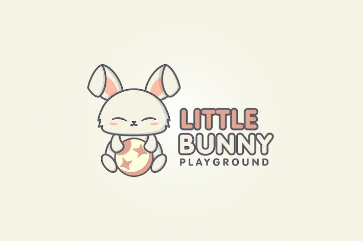 Thumbnail for Cartoon Cute Rabbit Playing With A Ball Logo