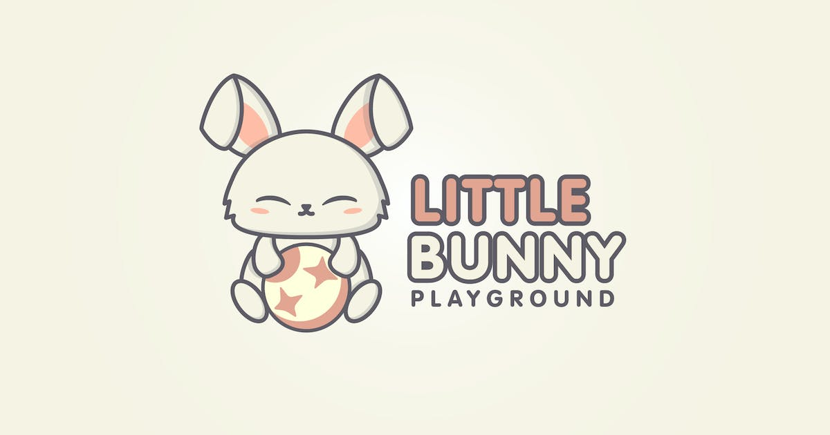 Download Cartoon Cute Rabbit Playing With A Ball Logo by Suhandi
