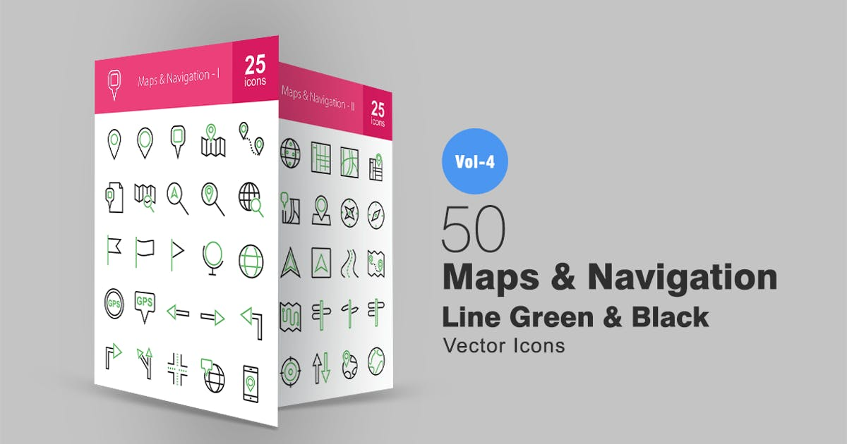 Download 50 Maps & Navigation Line Green & Black Icons by IconBunny