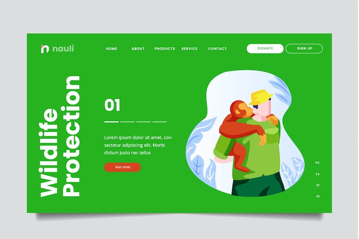 Wildlife Protection Web Header PSD and AI Vector