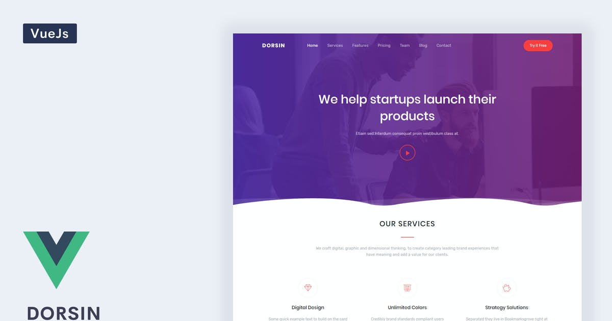 Download Dorsin - VueJs Landing Page Template by Themesbrand