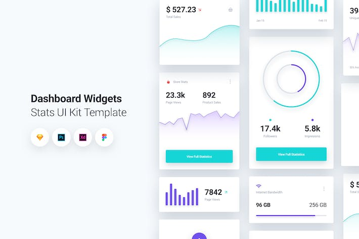 Cover Image For Dashboard Widgets UI Kit Template