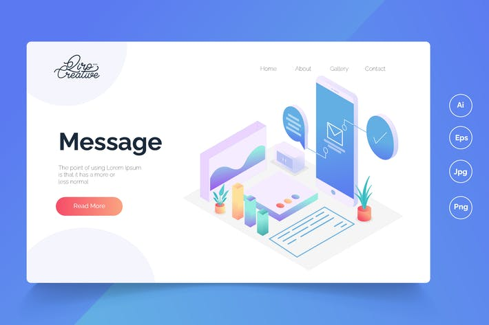 Thumbnail for Message - Isometric Landing Page