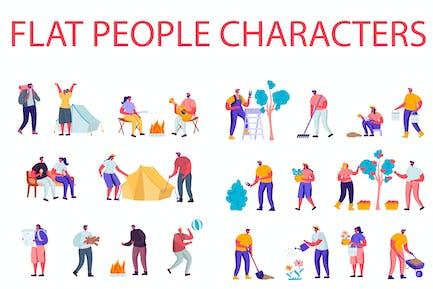 Flache Cartoon Menschen Charaktere