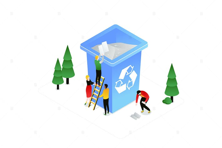 Thumbnail for Recycling - modern colorful isometric illustration