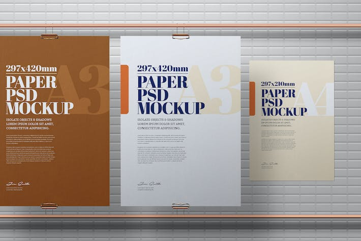 A3 A4 Flyer Poster Copper Pipe Mockup