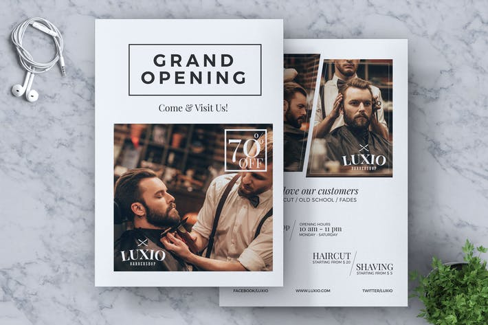 Thumbnail for Barbershop Grand Opening Flyer Template