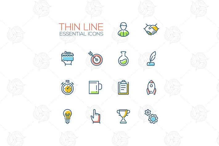 Geschäfts-, Finanz-Symbole - Icons für dünne Linien