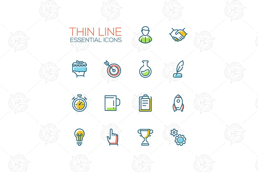 Business, Finance Symbols - thin line icons