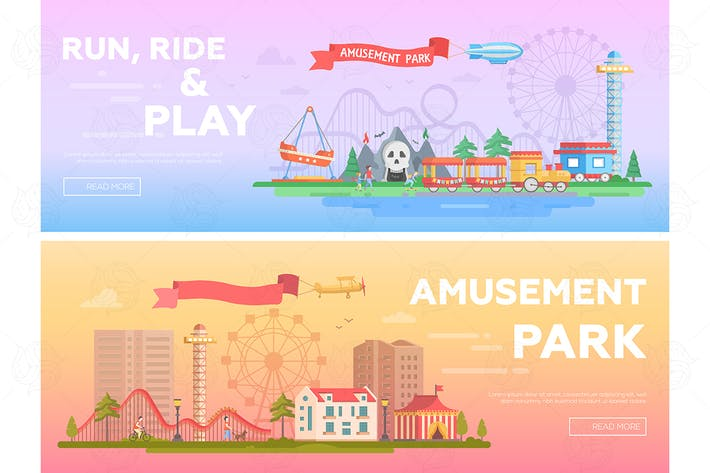Thumbnail for Amusement park - set of flat vector illustrations