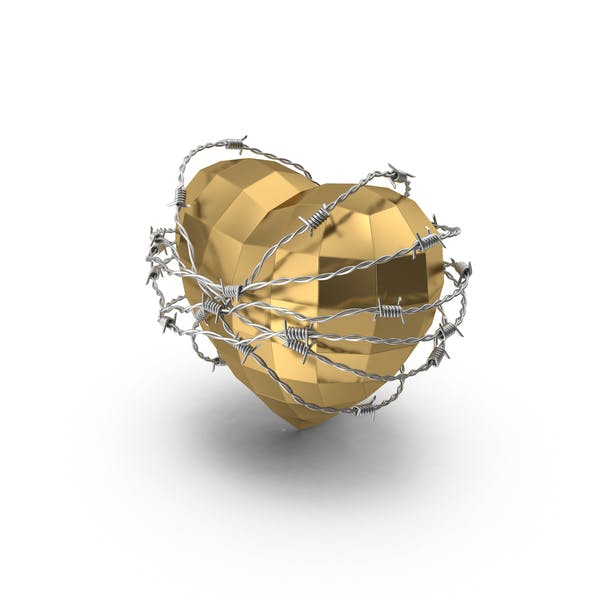 Low Poly Golden Heart In Barbed Wire