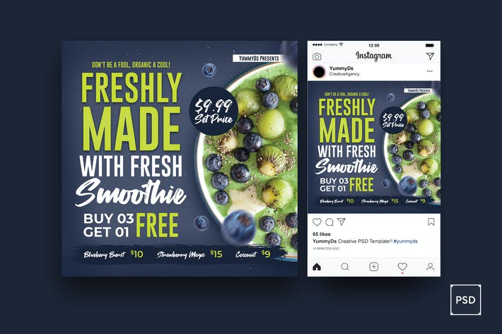 Thumbnail for Smoothie Square Flyer & Instagram Post