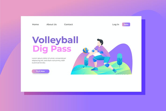 Cover Image For Volleyball Landing Page Illustration