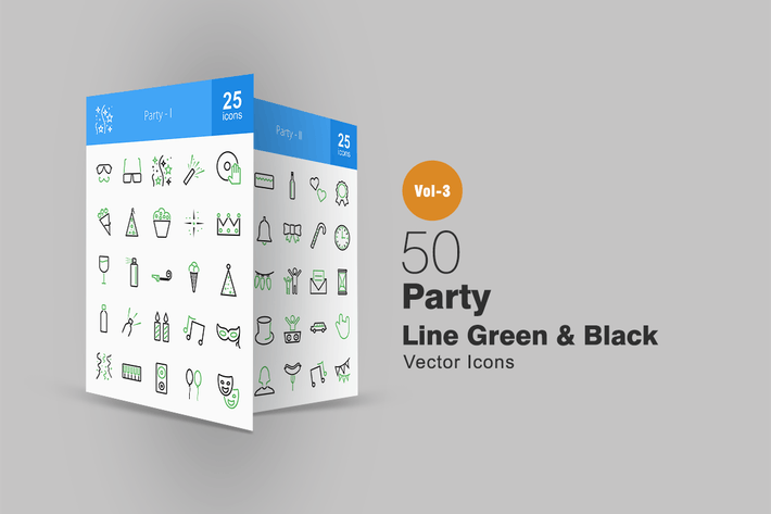 Cover Image For 50 Party Line Green & Black Icons