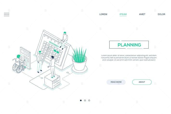 Thumbnail for Planning - Banner web isométrico de estilo de diseño de línea