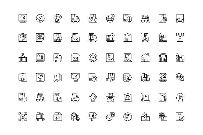 Eindeutige Webline-Icons für die Lieferung