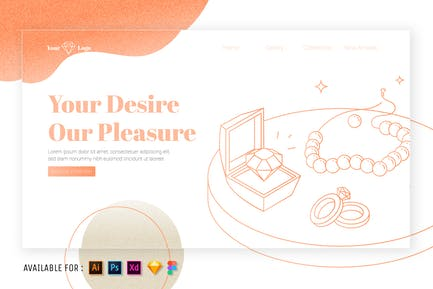 Jewelry Set - Web Outline Illustration