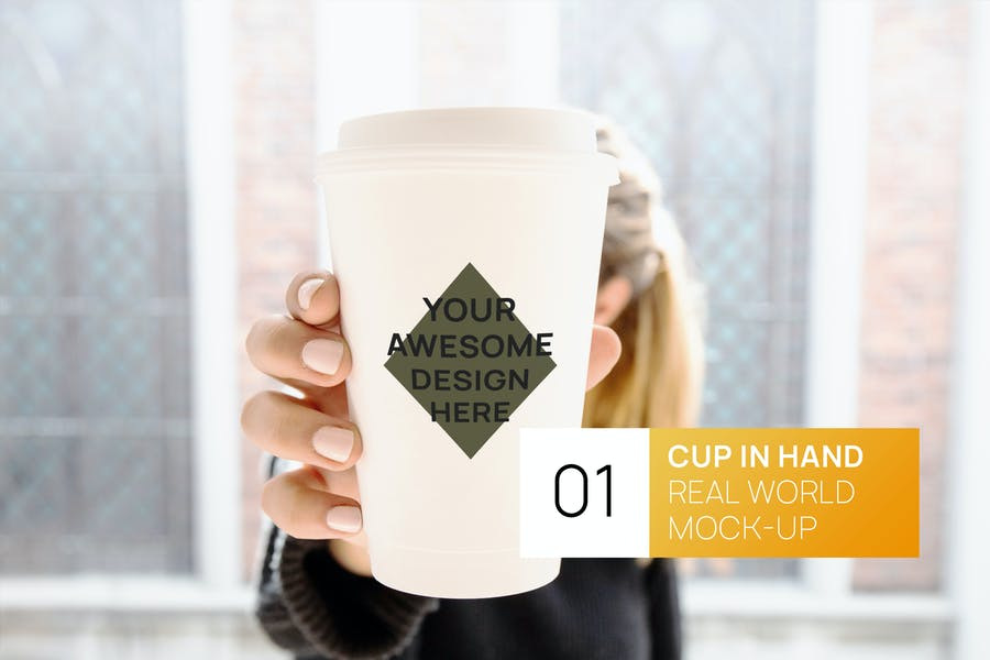 Person Holding White Coffee Cup Real World Mock-up
