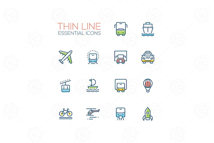 Thumbnail for Means of transport - modern vector line icons
