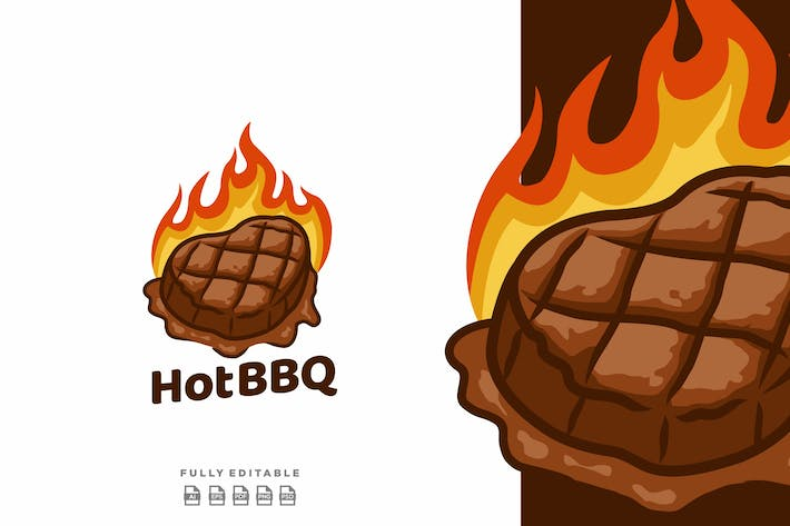 Thumbnail for Hot Barbeque Steak Meat Logo