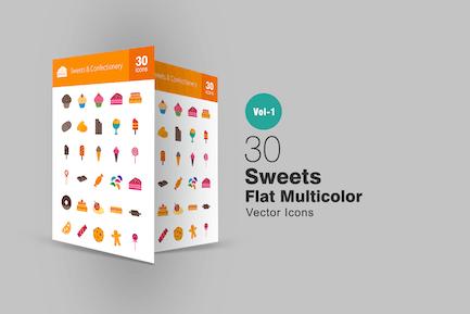 30 Süßigkeiten & Süßwaren Flach Multicolor Icons