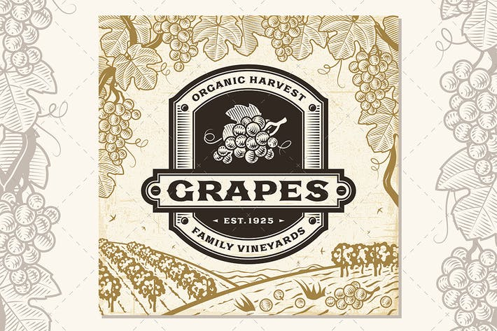 Thumbnail for Retro Grapes Label On Harvest Landscape